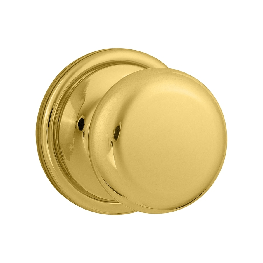Kwikset Signature Hancock Lifetime Polished Brass Round Passage Door Knob