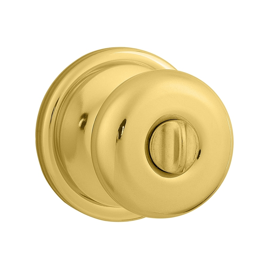Kwikset Signature Hancock Polished Brass Round Turn-Lock Privacy Door Knob