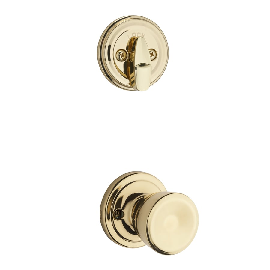 Kwikset Abbey 1-3/4-in Polished Brass Single Cylinder Knob Entry Door Interior Handle