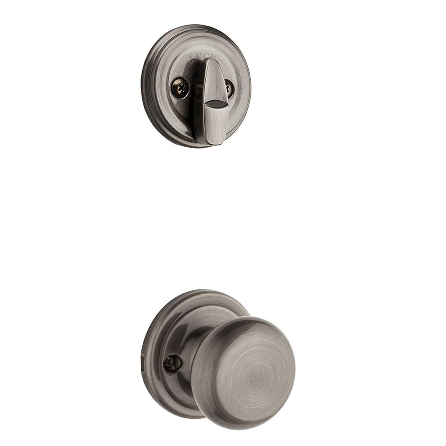 Kwikset Hancock 1-3/4-in Antique Nickel Single Cylinder Knob Entry Door Interior Handle