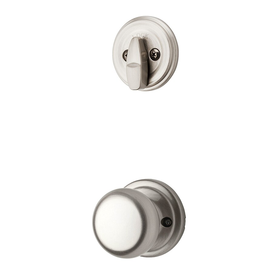 Kwikset Hancock 1-3/4-in Satin Nickel Single Cylinder Knob Entry Door Interior Handle