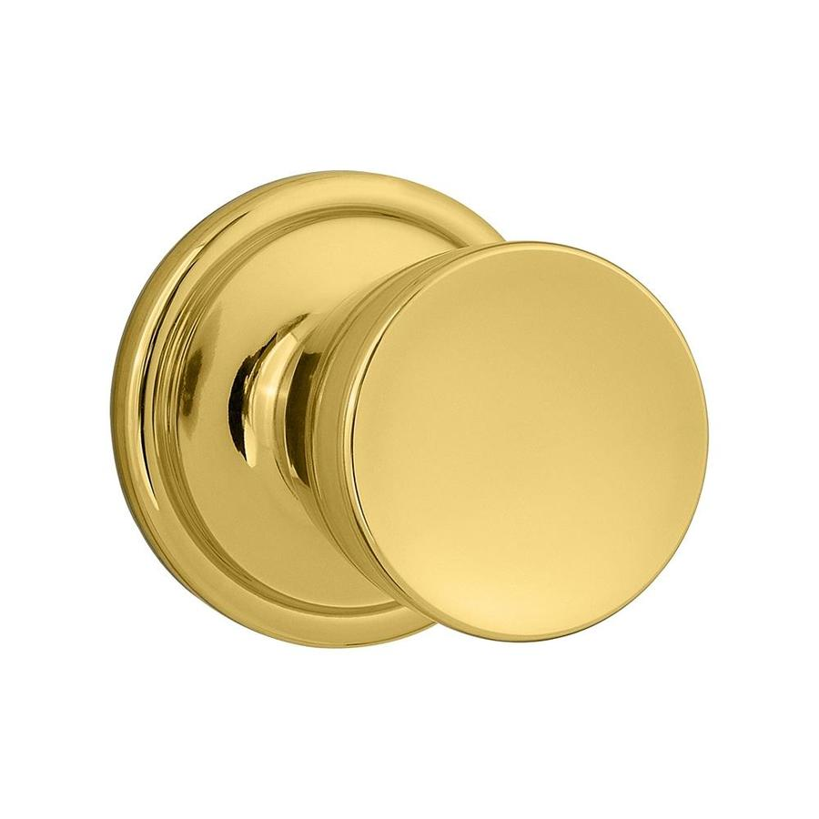 Kwikset Signature Abbey Polished Brass Round Passage Door Knob