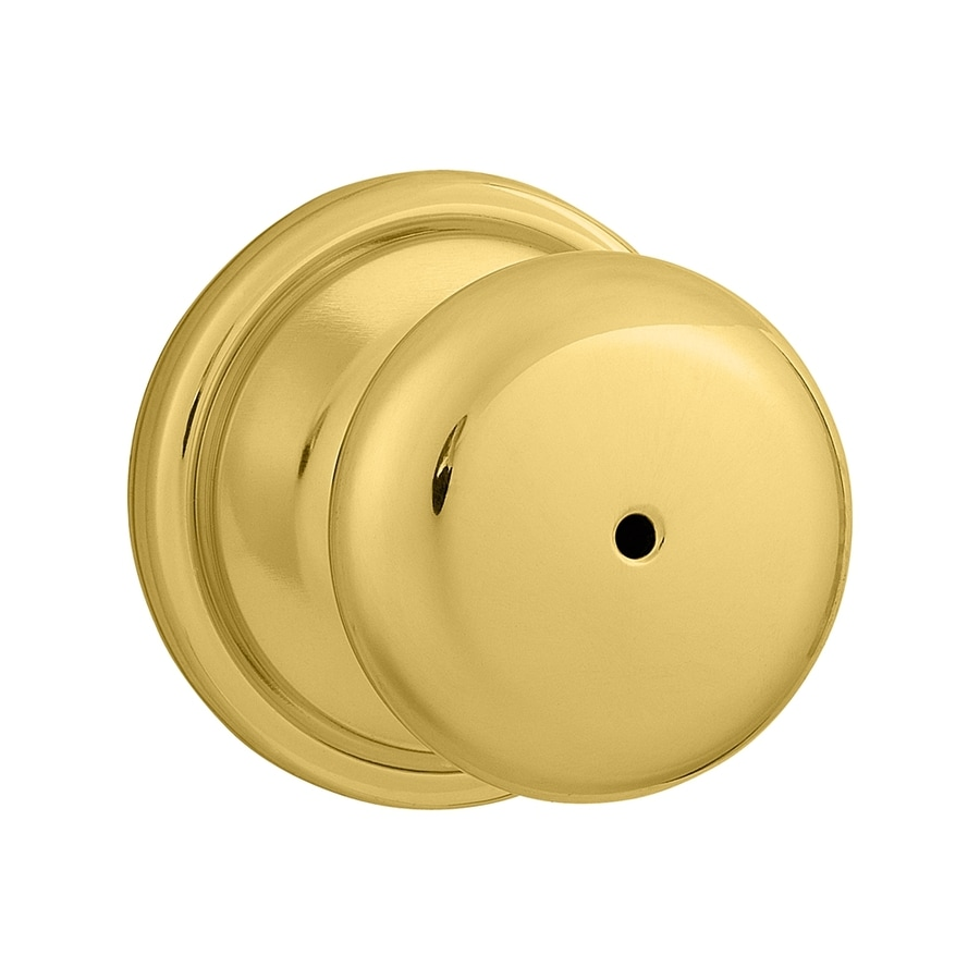 Kwikset Signature Hancock Polished Brass and Polished Chrome Round Turn-Lock Privacy Door Knob