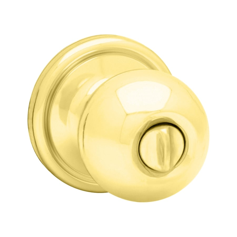 Kwikset Signature Circa Polished Brass and Polished Chrome Round Turn-Lock Privacy Door Knob