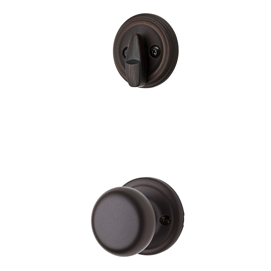 Kwikset Hancock 1-3/4-in Venetian Bronze Single Cylinder Knob Entry Door Interior Handle