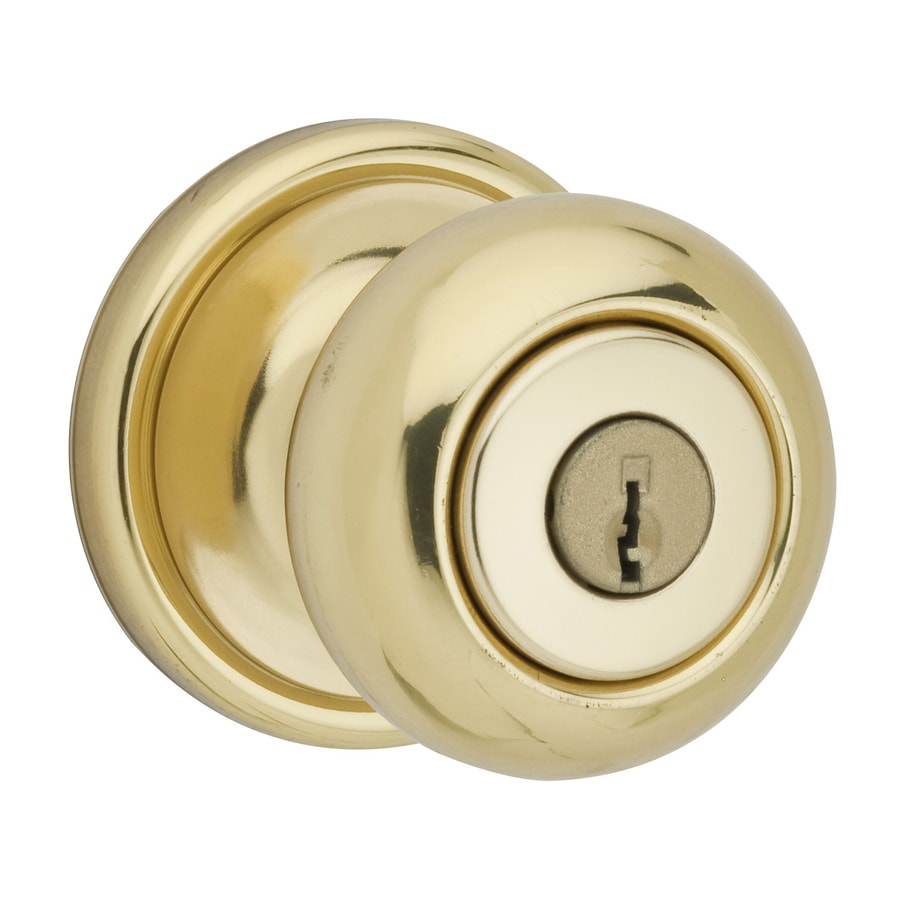 Shop Kwikset Signature Hancock Polished Brass Round Keyed Entry Door Knob At