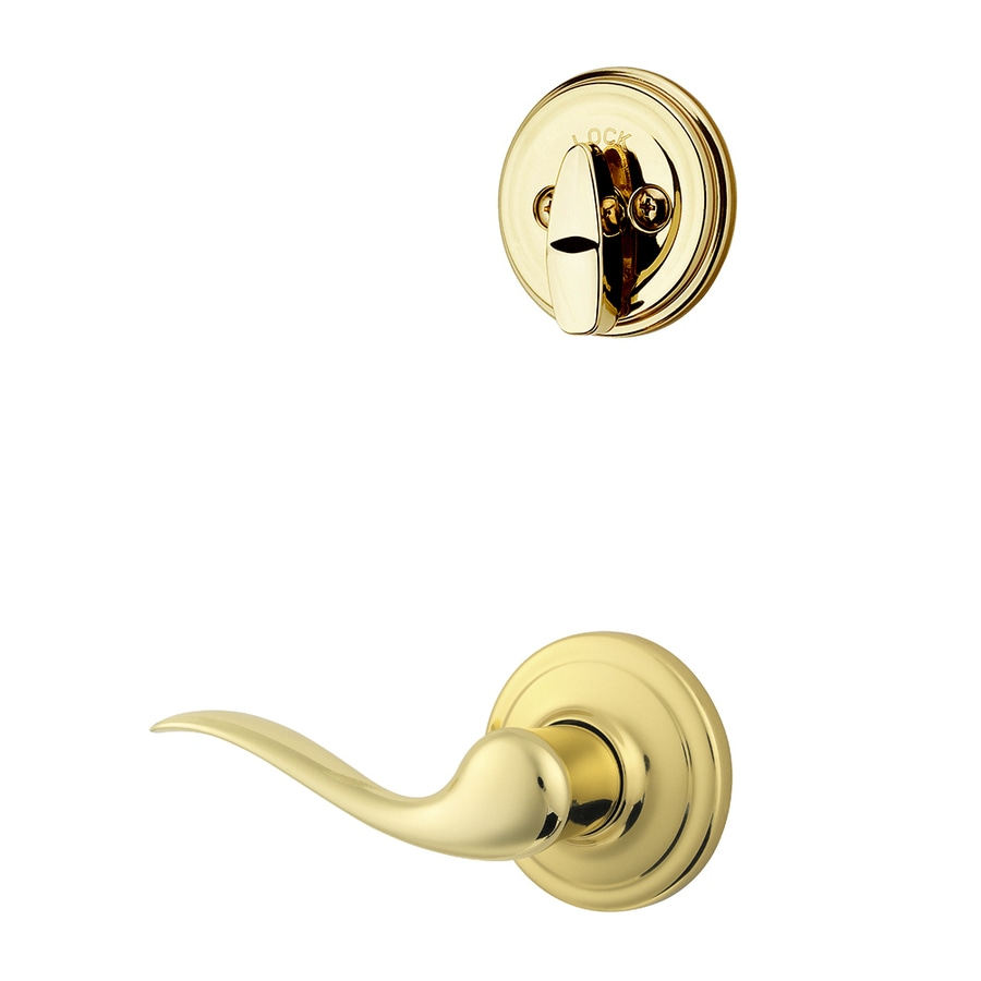 Kwikset Tustin 1-3/4-in Polished Brass Single Cylinder Lever Entry Door Interior Handle