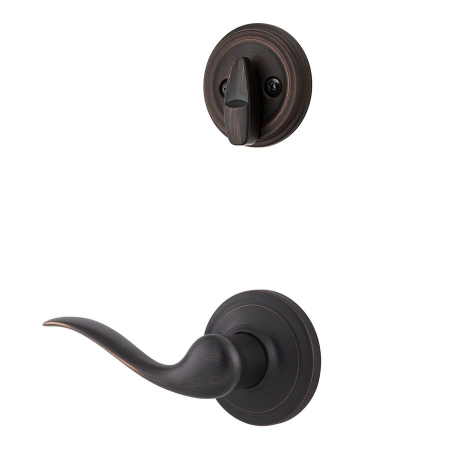 Kwikset Tustin 1-3/4-in Venetian Bronze Single Cylinder Lever Entry Door Interior Handle