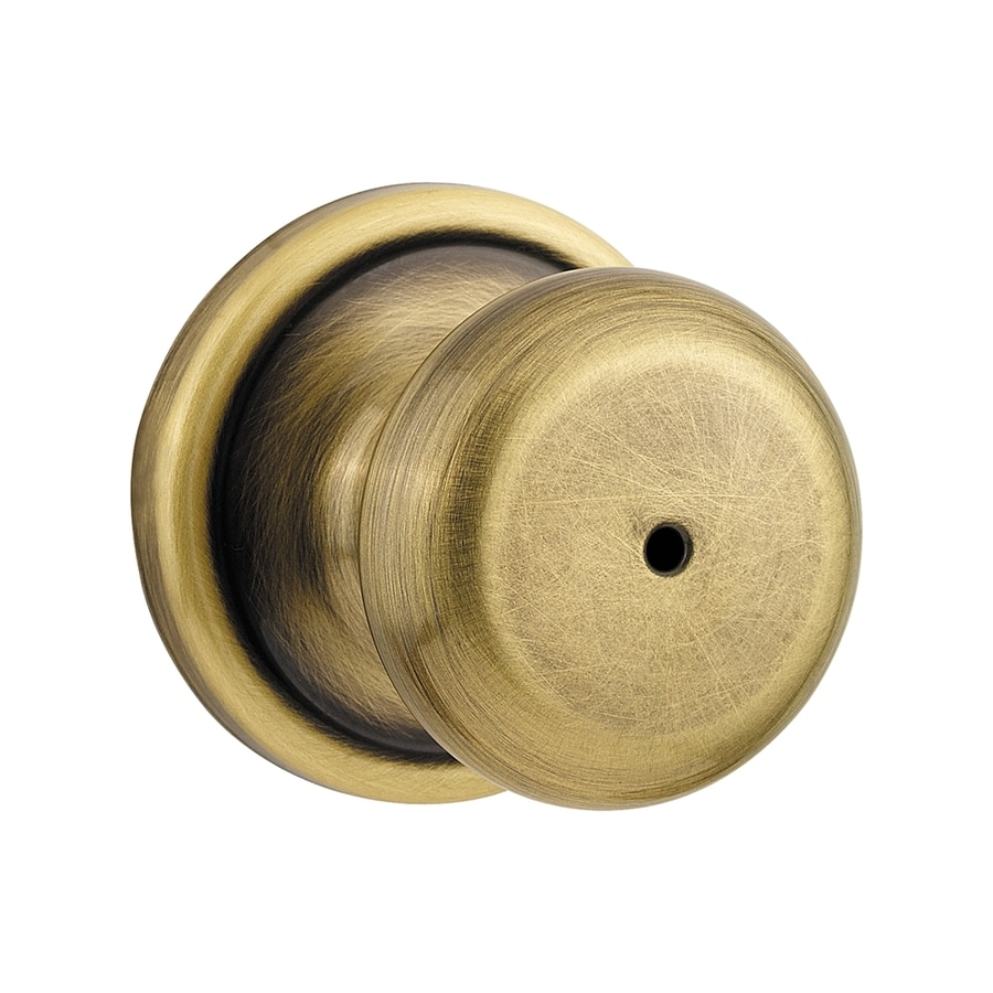 Kwikset Signature Hancock Antique Brass and Polished Chrome Round Turn-Lock Privacy Door Knob