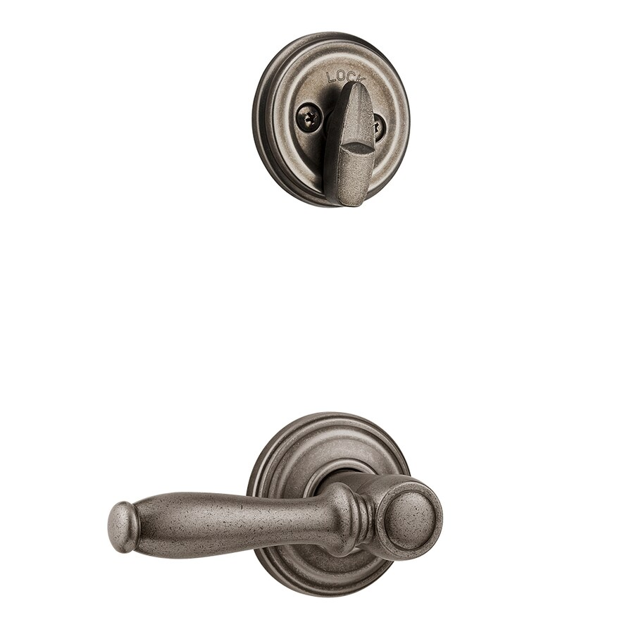 Kwikset Ashfield 1-3/4-in Rustic Pewter Single Cylinder Lever Entry Door Interior Handle