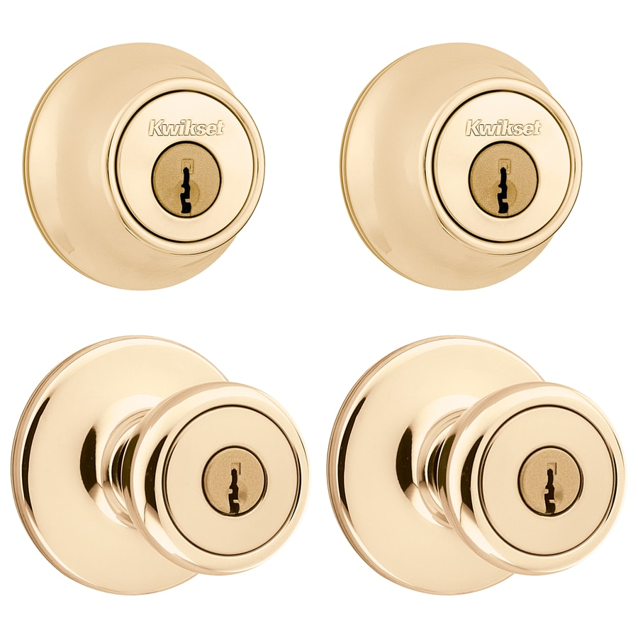 Kwikset Tylo Antique Brass Single-Cylinder Deadbolt and Keyed Entry Door Knob Project Pack
