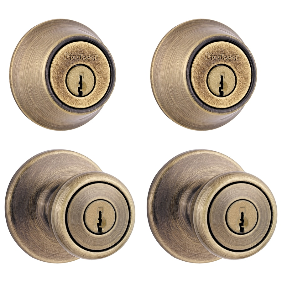 Kwikset Tylo Antique Brass Single Cylinder Deadbolt Keyed Entry Door Knob  Project Pack