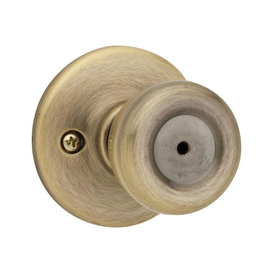 Kwikset Tylo Antique Brass Tulip Turn Lock Privacy Door Knob