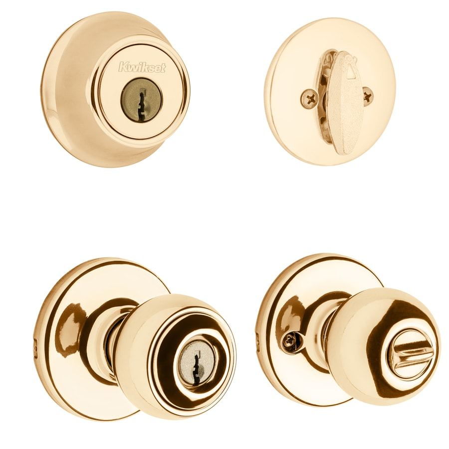 Kwikset Polo Antique Brass Single-Cylinder Deadbolt and Keyed Entry Door Knob Combo Pack