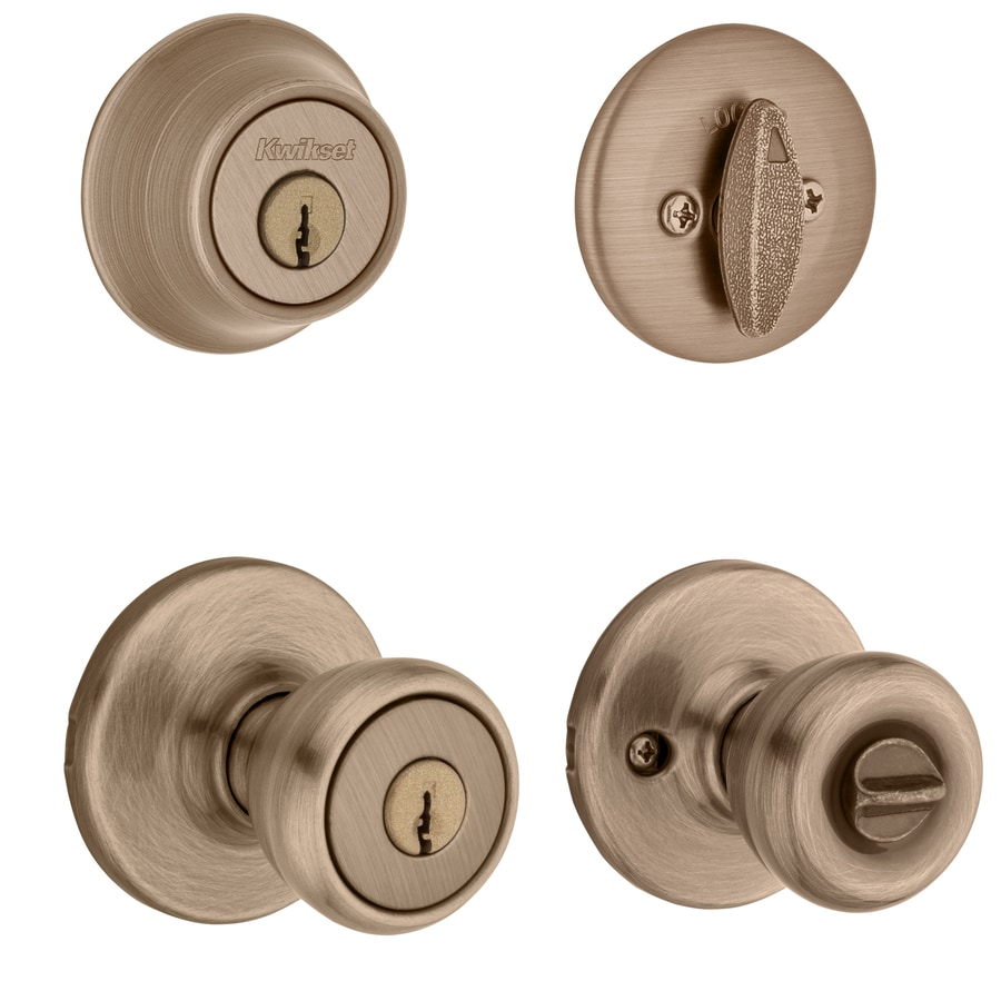 Kwikset Tylo Antique Brass Single-Cylinder Deadbolt and Keyed Entry Door Knob Combo Pack