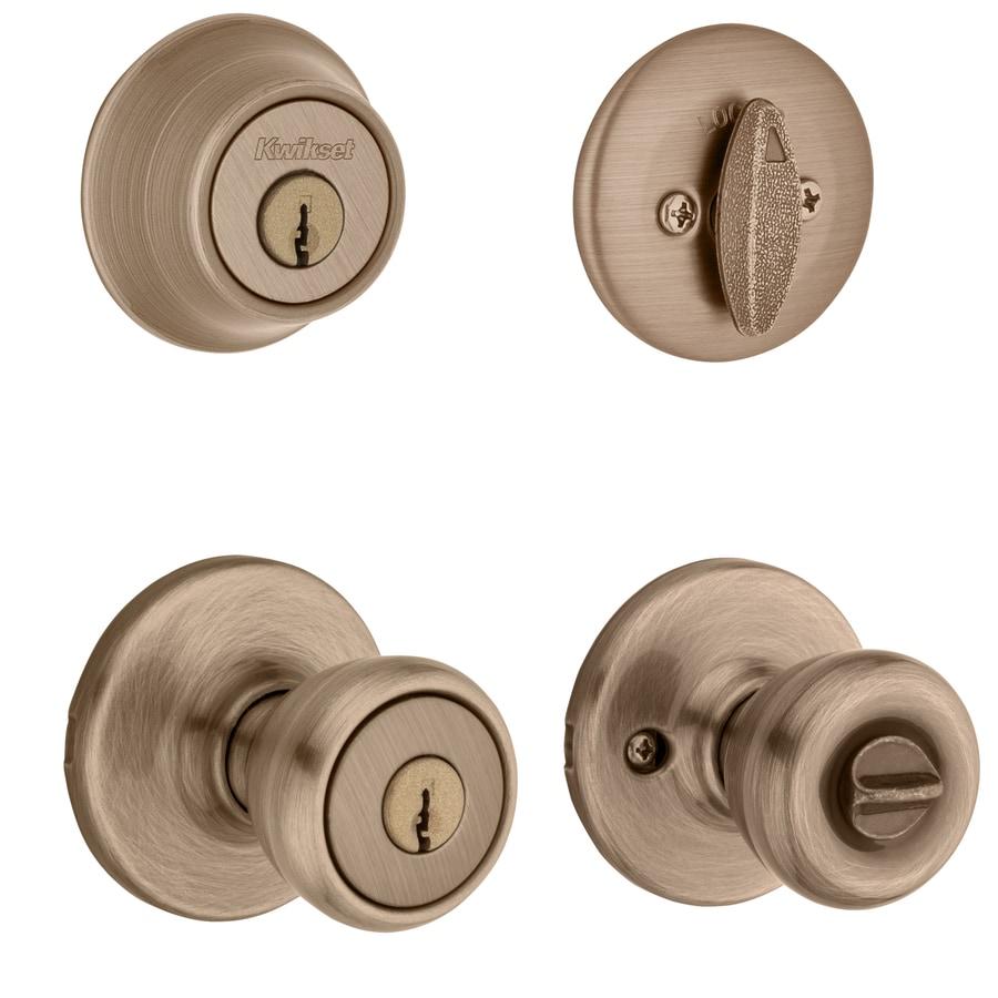 Shop Kwikset Tylo Antique Brass Single Cylinder Deadbolt Keyed Entry Door Knob Combo Pack At