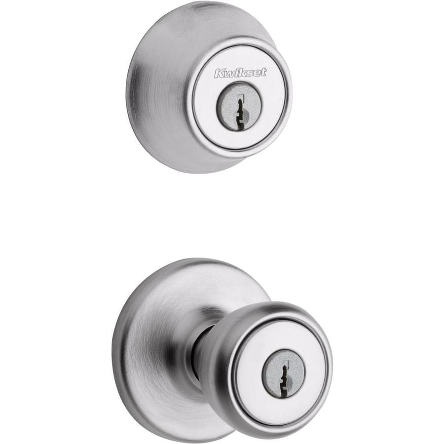 Kwikset Tylo Satin chrome Double-Cylinder Deadbolt and Keyed Entry Door Knob Combo Pack