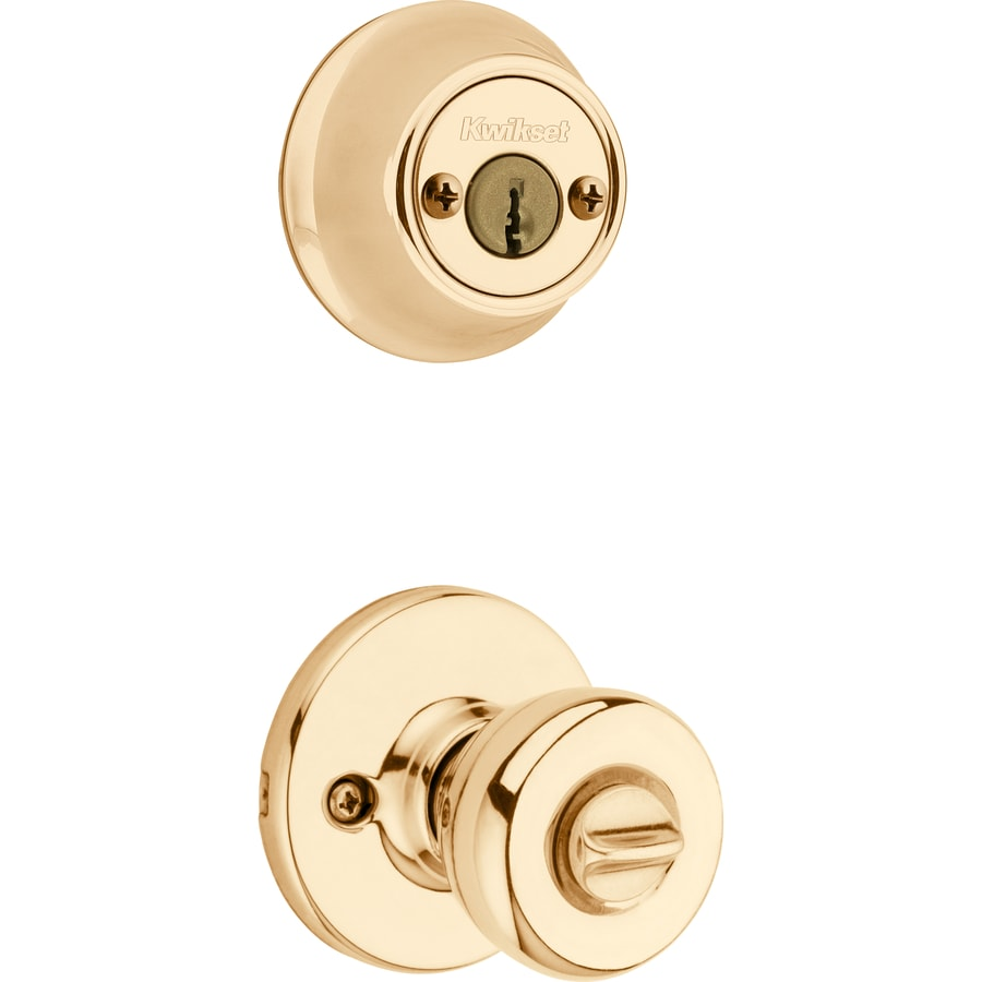 Kwikset Polo Polished Brass Round Keyed Entry Door Knob