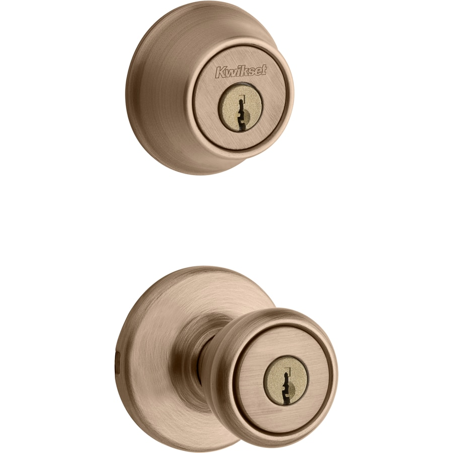 Kwikset Tylo Antique Brass Double Cylinder Deadbolt Keyed Entry Door Knob In The Door Knobs Department At Lowes Com