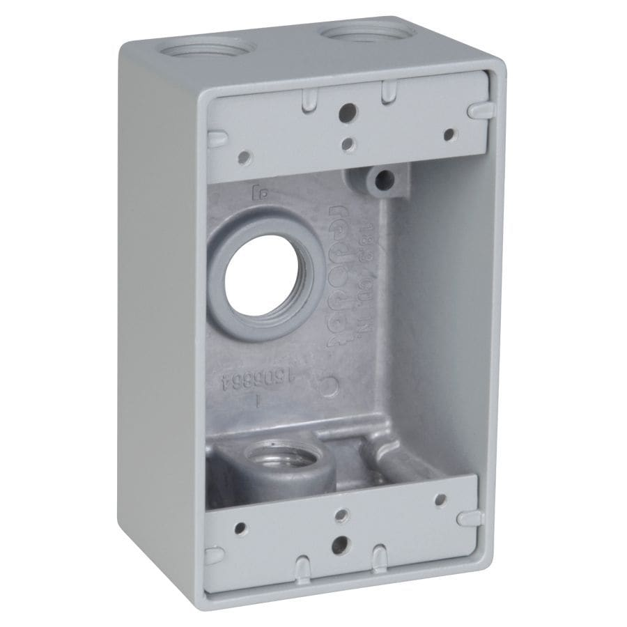 REDDOT 1-Gang Silver Metal Weatherproof Exterior/Interior New Work/Old Work Standard Rectangular Wall Electrical Box