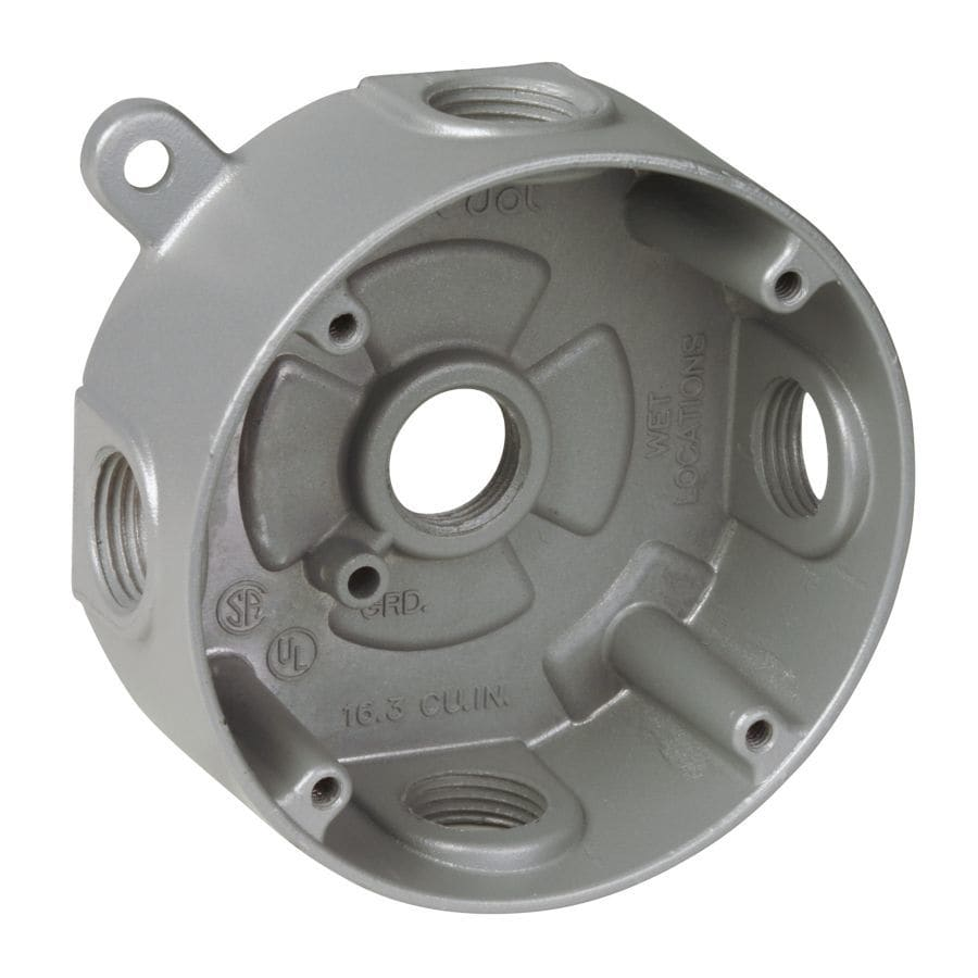REDDOT Silver Metal Weatherproof Exterior/Interior New Work/Old Work Standard Round Celing/Wall Electrical Box
