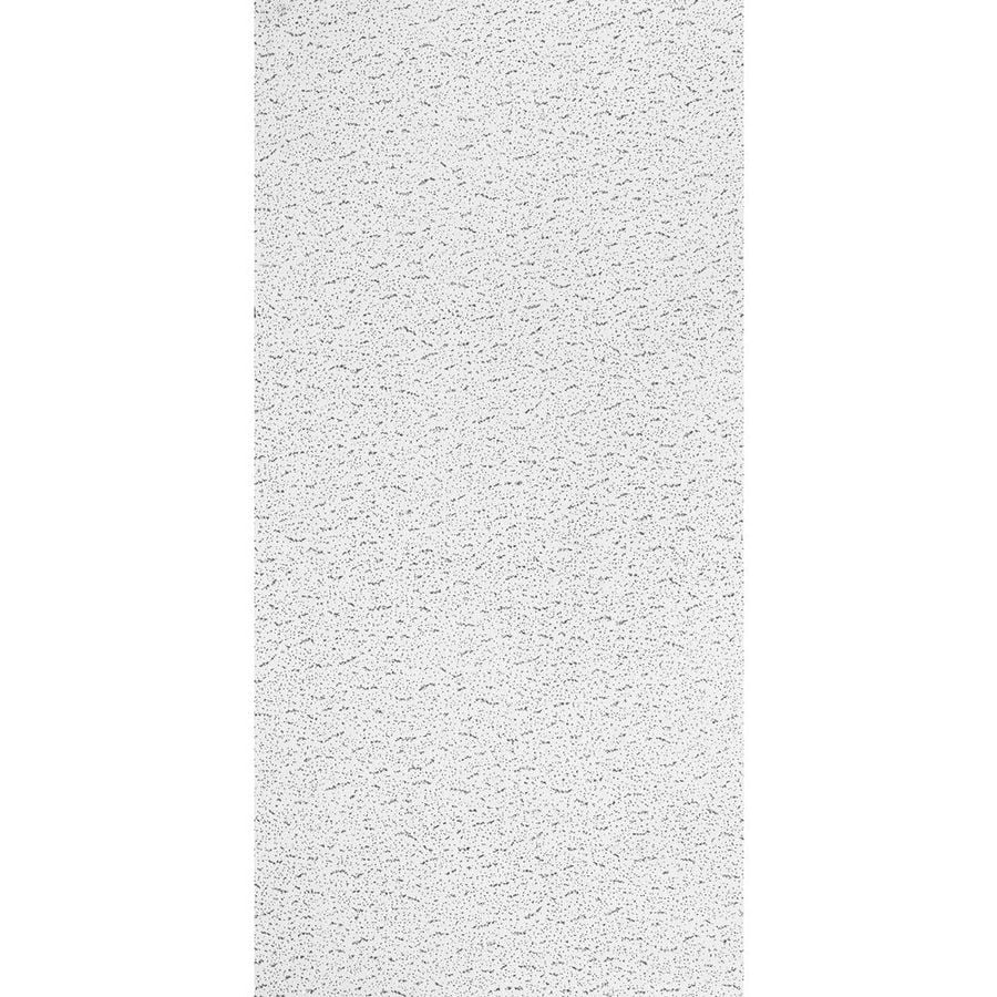 Armstrong Ceilings (Common: 48-in x 24-in; Actual: 47.813-in x 23.813-in) Textured Fireguard Contractor 8-Pack White Fissured 15/16-in Drop Acoustic Panel Ceiling Tiles