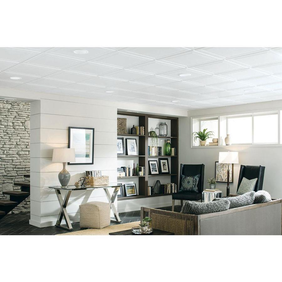 (Common: 24-in x 24-in; Actual: 23.735-in x 23.735-in) Single Raised 6-Pack  White Patterned 15/16-in Drop Acoustic Panel Ceiling Tiles