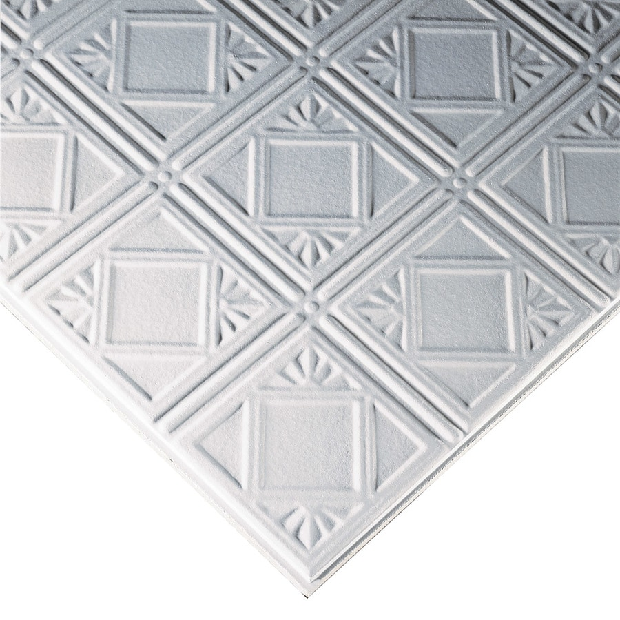 Armstrong Tincraft 8-Pack White Patterned 9/16-in Drop Acoustic Panel Ceiling Tiles (Common: 24-in x 24-in; Actual: 23.73-in x 23.73-in)