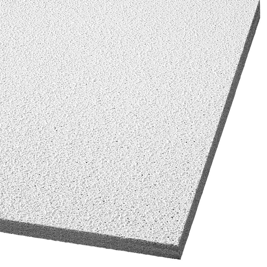 Armstrong Ceilings (Common: 24-in x 24-in; Actual: 23.719-in x 23.719-in) Georgian 16-Pack White Textured 15/16-in Drop Acoustic Panel Ceiling Tiles