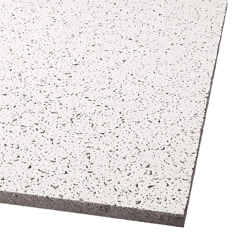 Armstrong Ceilings (Common: 24-in x 24-in; Actual: 23.813-in x 23.813-in) Cortega 16-Pack White Fissured 15/16-in Drop Acoustic Panel Ceiling Tiles