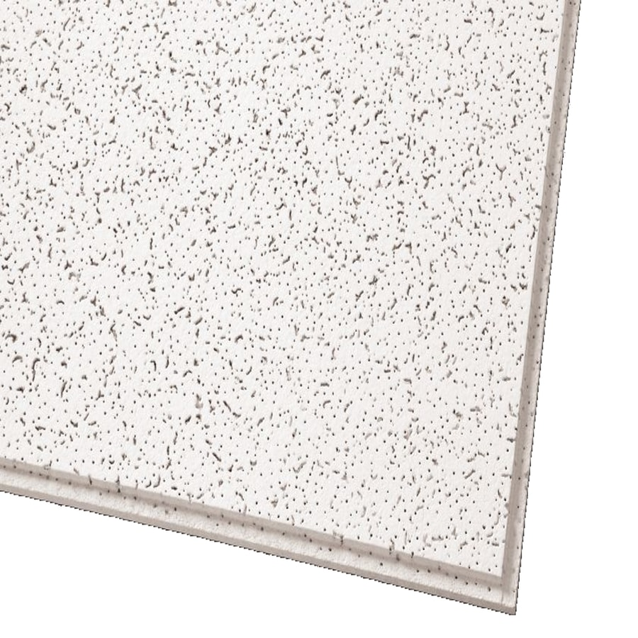 Armstrong Ceilings (Common: 48-in x 24-in; Actual: 47.704-in x 23.704-in) Cortega 10-Pack White Fissured 15/16-in Drop Acoustic Panel Ceiling Tiles