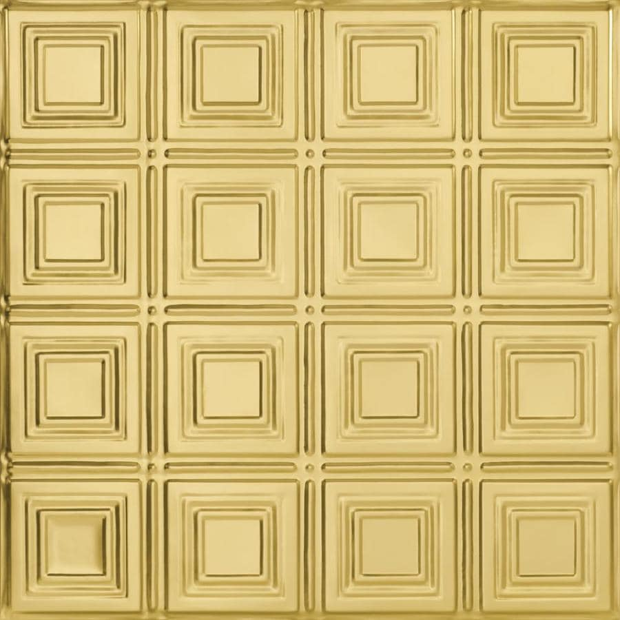 Armstrong Ceilings (Common: 24-in x 24-in; Actual: 23.75-in x 23.75-in) Metallaire Small Panels Brass Patterned 15/16-in Drop Panel Ceiling Tiles