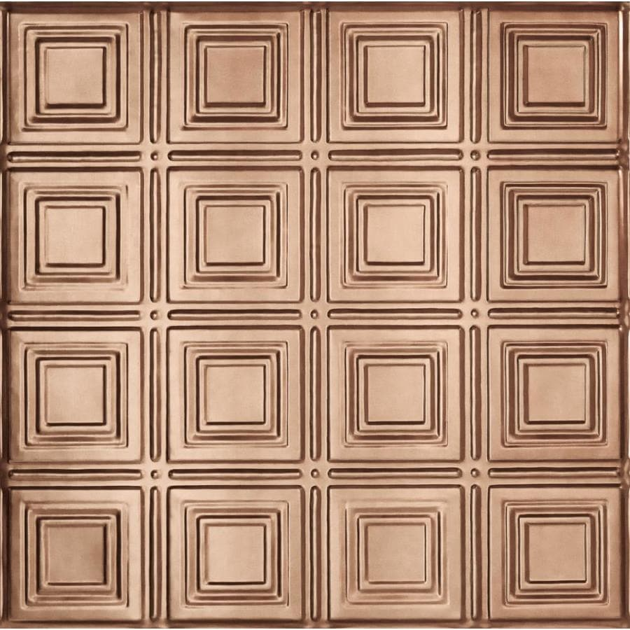 Armstrong Ceilings (Common: 24-in x 24-in; Actual: 23.75-in x 23.75-in) Metallaire Small Panels Copper Patterned 15/16-in Drop Panel Ceiling Tiles