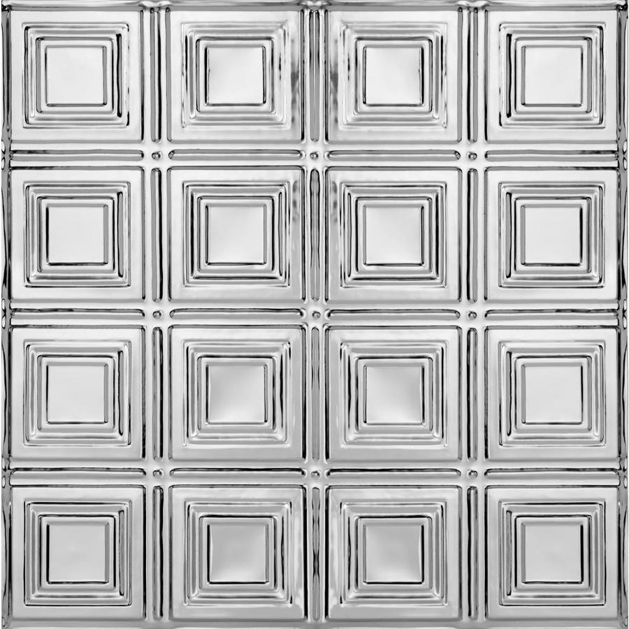 Armstrong Ceilings Metallaire Small Panels Chrome Patterned 15/16-in Drop Panel Ceiling Tiles (Common: 24-in x 24-in; Actual: 23.75-in x 23.75-in)