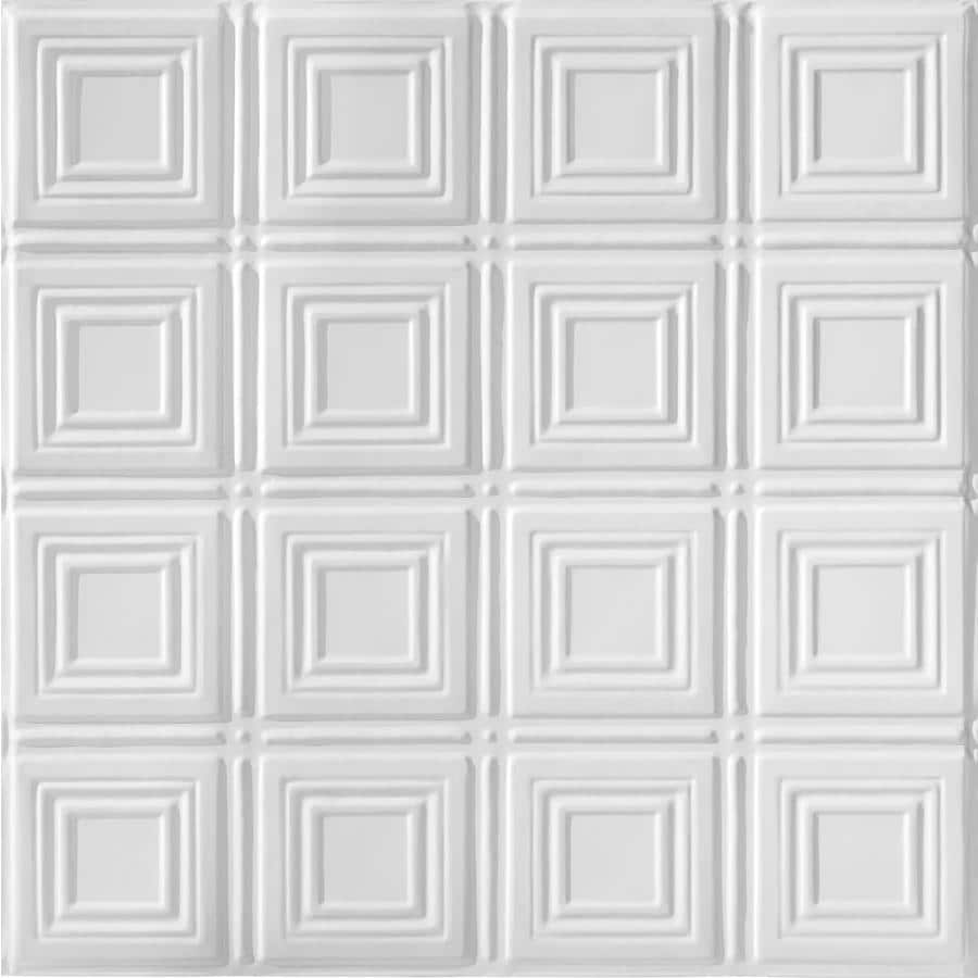 Armstrong Ceilings (Common: 24-in x 24-in; Actual: 23.75-in x 23.75-in) Metallaire Small Panels White Patterned 15/16-in Drop Panel Ceiling Tiles