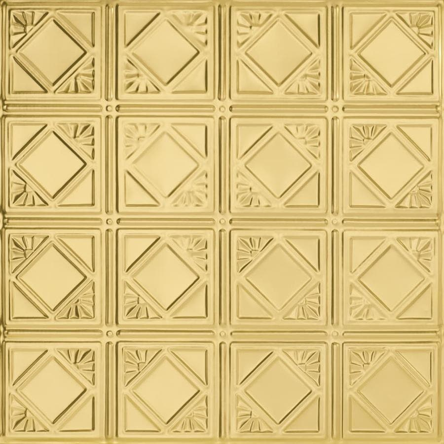 Armstrong Ceilings (Common: 24-in X 24-in; Actual: 23.75-in x 23.75-in) Metallaire Fans Brass Metal 15/16-in Drop Panel Ceiling Tiles