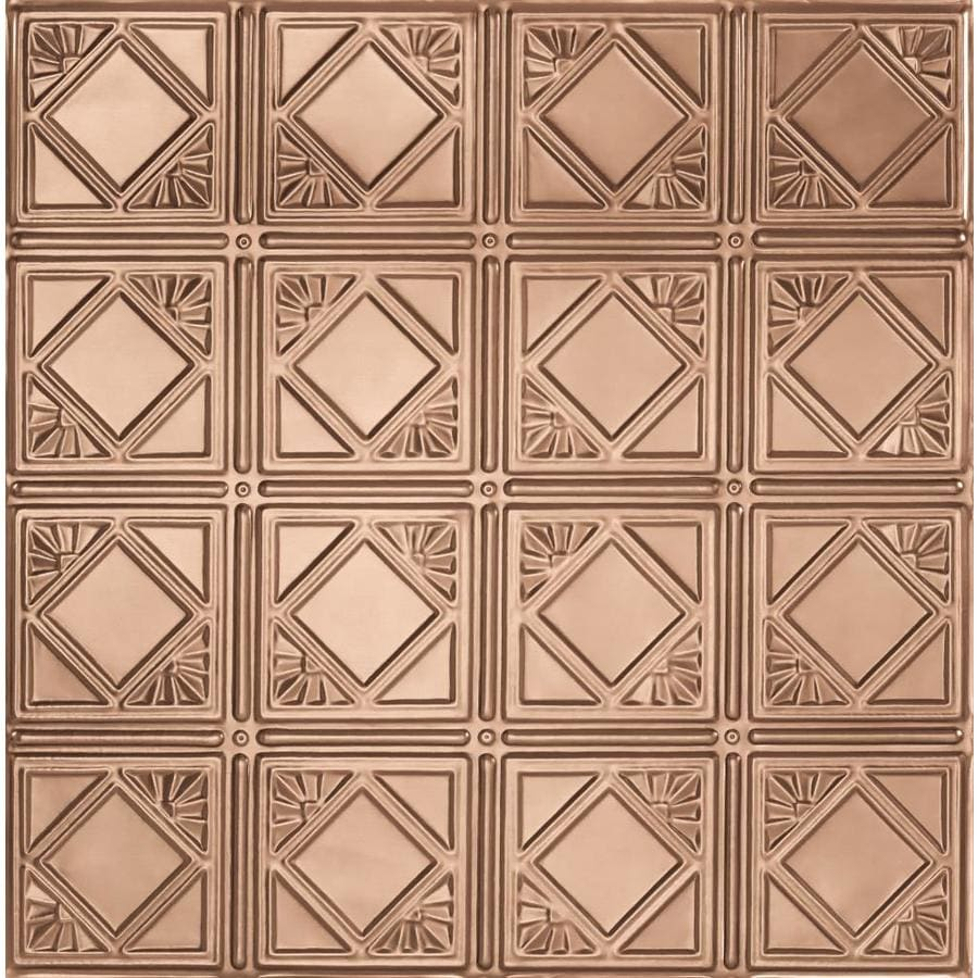 Armstrong Ceilings (Common: 24-in x 24-in; Actual: 23.75-in x 23.75-in) Metallaire Fans Copper Patterned 15/16-in Drop Panel Ceiling Tiles