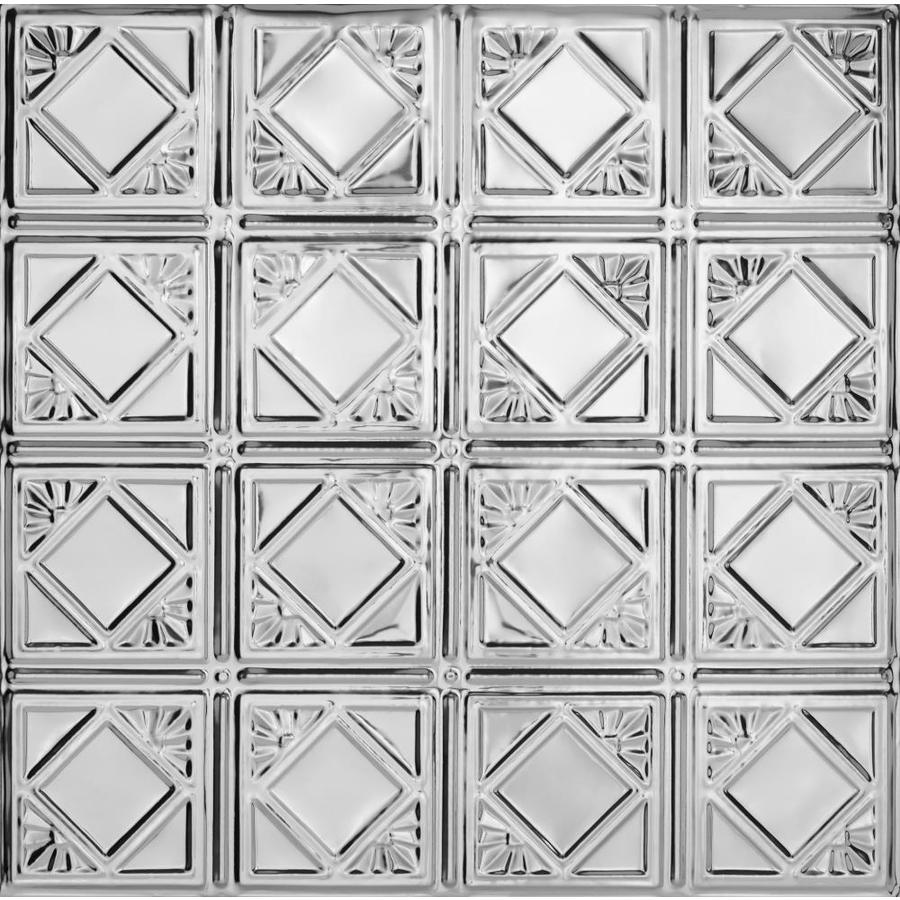 Armstrong Ceilings (Common: 24-in X 24-in; Actual: 23.75-in x 23.75-in) Metallaire Fans Chrome Metal 15/16-in Drop Panel Ceiling Tiles