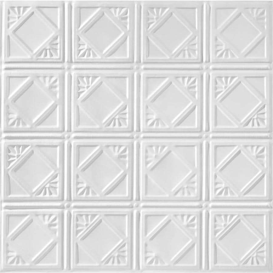 Armstrong Ceilings (Common: 24-in X 24-in; Actual: 23.75-in x 23.75-in) Metallaire Fans White Metal 15/16-in Drop Panel Ceiling Tiles