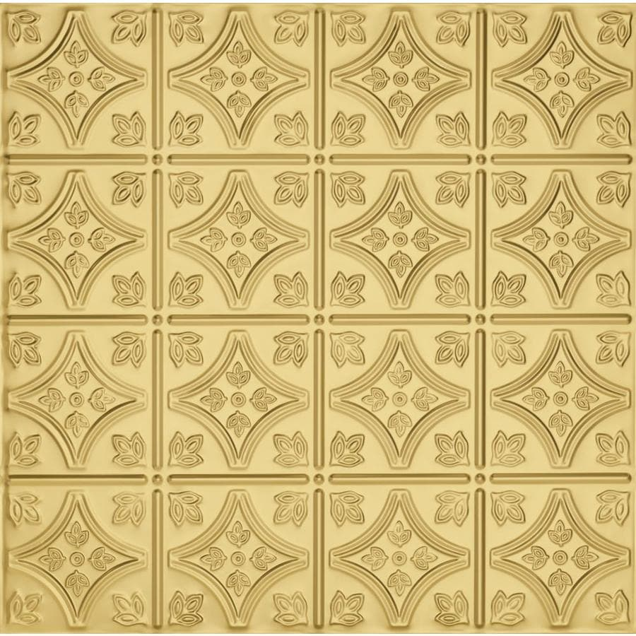 Armstrong Ceilings (Common: 24-in x 24-in; Actual: 23.75-in x 23.75-in) Metallaire Small Floral Circle Brass Patterned 15/16-in Drop Panel Ceiling Tiles