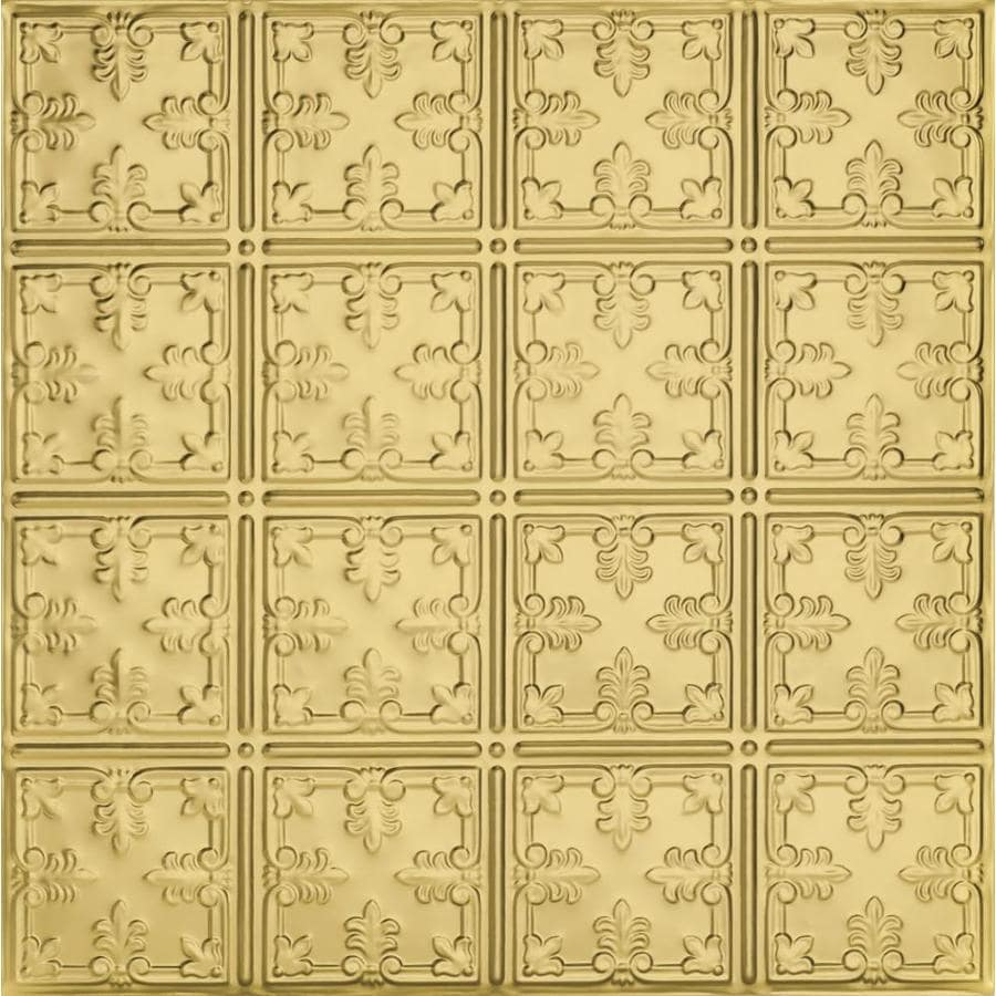 Armstrong Ceilings (Common: 24-in x 24-in; Actual: 23.75-in x 23.75-in) Metallaire Vine Brass Patterned 15/16-in Drop Panel Ceiling Tiles