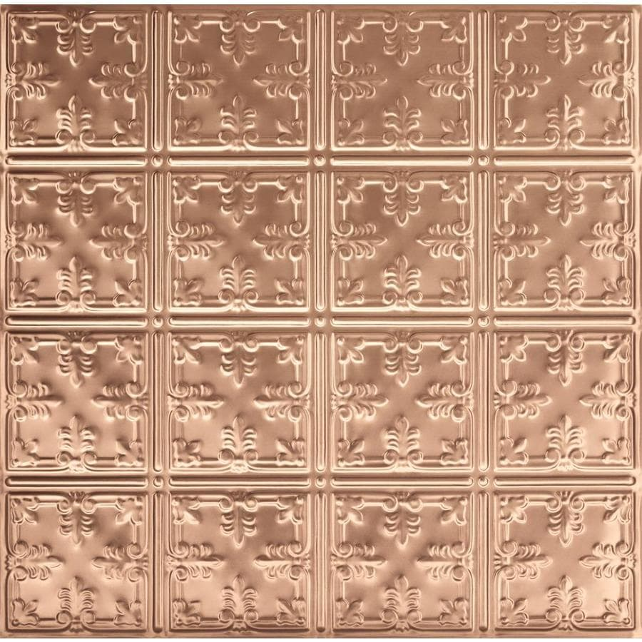 Armstrong Ceilings (Common: 24-in x 24-in; Actual: 23.75-in x 23.75-in) Metallaire Vine Copper Patterned 15/16-in Drop Panel Ceiling Tiles