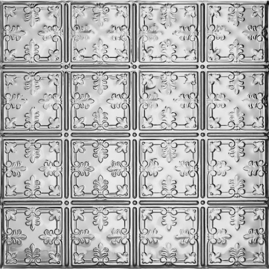 Armstrong Ceilings (Common: 24-in x 24-in; Actual: 23.75-in x 23.75-in) Metallaire Vine Chrome Patterned 15/16-in Drop Panel Ceiling Tiles