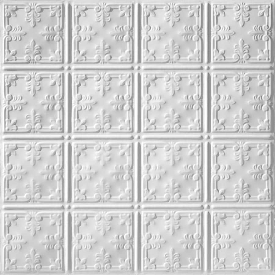 Armstrong Ceilings Metallaire Vine White Patterned 15/16-in Drop Panel Ceiling Tiles (Common: 24-in x 24-in; Actual: 23.75-in x 23.75-in)