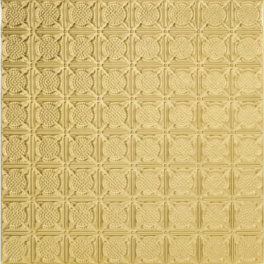 Armstrong Ceilings (Common: 24-in x 24-in; Actual: 23.75-in x 23.75-in) Metallaire Medallion Brass Patterned 15/16-in Drop Panel Ceiling Tiles