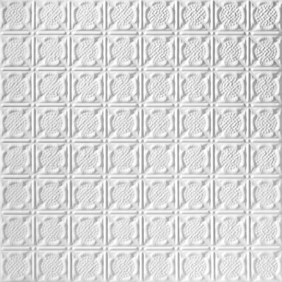 Armstrong Ceilings (Common: 24-in x 24-in; Actual: 23.75-in x 23.75-in) Metallaire Medallion White Patterned 15/16-in Drop Panel Ceiling Tiles