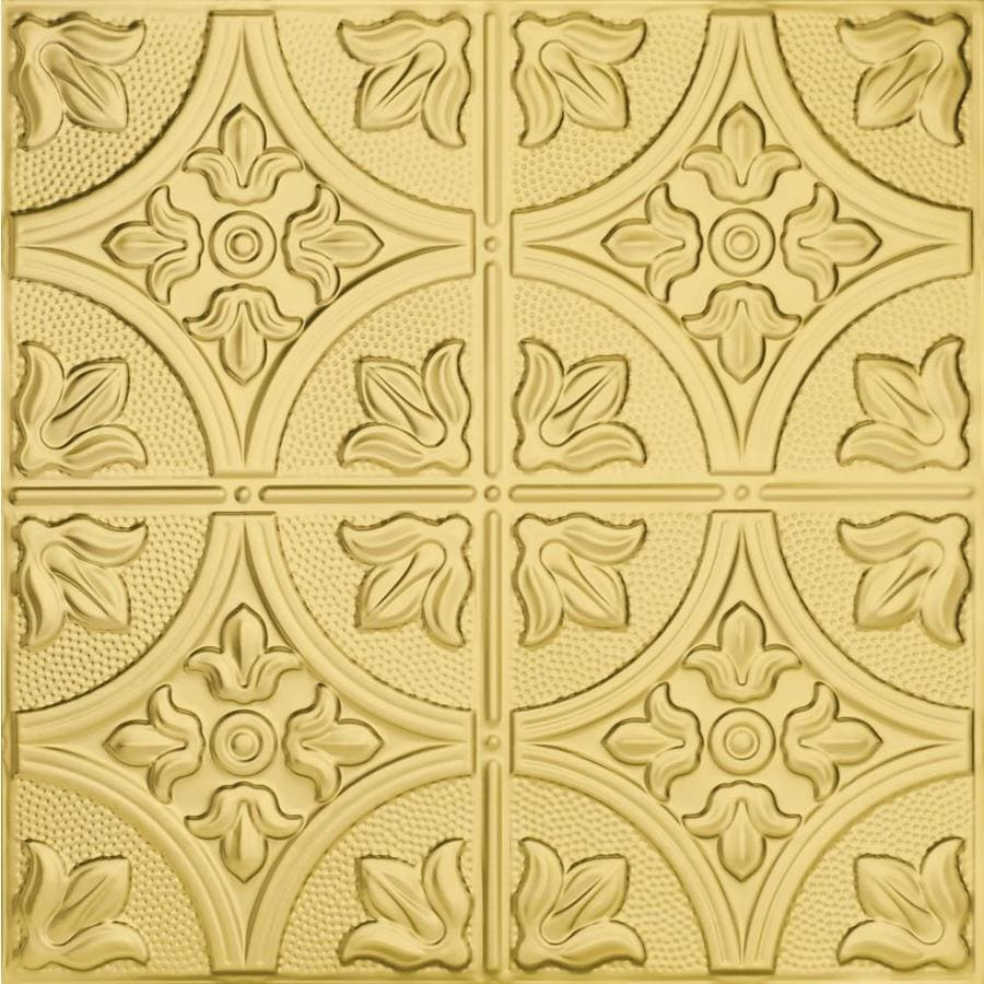 Armstrong Ceilings (Common: 24-in X 24-in; Actual: 23.75-in x 23.75-in) Metallaire Large Floral Circle Brass Metal 15/16-in Drop Panel Ceiling Tiles