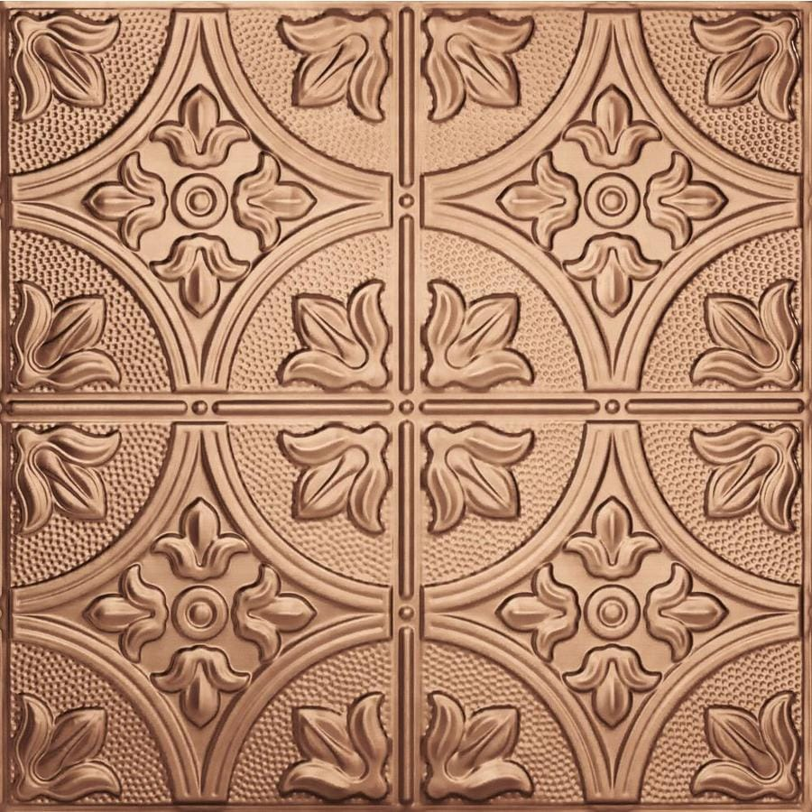 Armstrong Ceilings (Common: 24-in X 24-in; Actual: 23.75-in x 23.75-in) Metallaire Large Floral Circle Copper Metal 15/16-in Drop Panel Ceiling Tiles