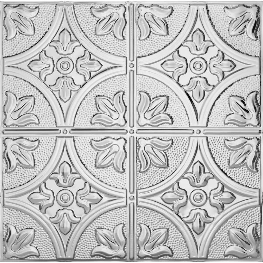 Armstrong Ceilings (Common: 24-in X 24-in; Actual: 23.75-in x 23.75-in) Metallaire Large Floral Circle Chrome Metal 15/16-in Drop Panel Ceiling Tiles