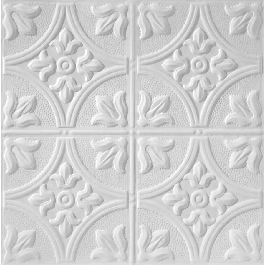 Armstrong Ceilings (Common: 24-in x 24-in; Actual: 23.75-in x 23.75-in) Metallaire Large Floral Circle White Patterned 15/16-in Drop Panel Ceiling Tiles